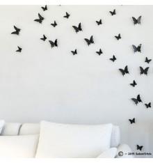 Lot de 12 papillons 3D NOIR
