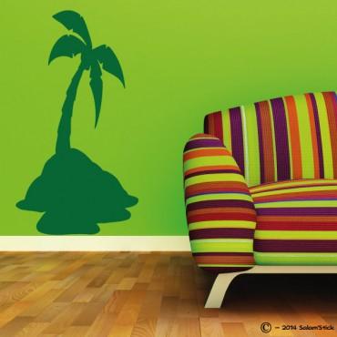Sticker palmier sur île