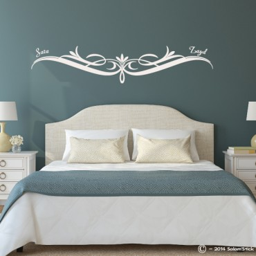 sticker t te de lit arabesque personnalis. Black Bedroom Furniture Sets. Home Design Ideas