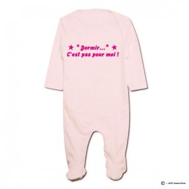Pyjama bio personnalisable rose DORMIR C'EST PAS POUR MOI