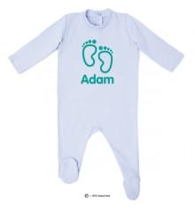 Pyjama bio personnalisable bleu petits pieds