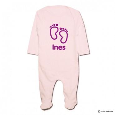 Pyjama bio personnalisable rose petits pieds