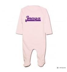 Pyjama bio personnalisable rose prénom