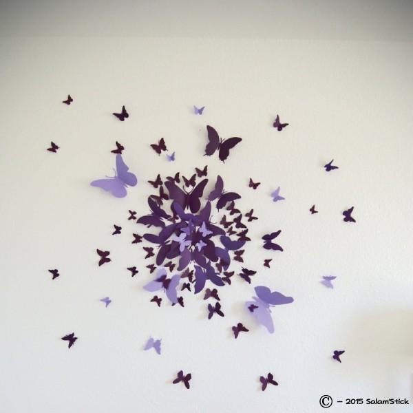 lot de 12 papillons 3d violet. Black Bedroom Furniture Sets. Home Design Ideas