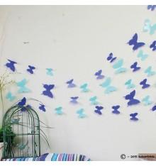 Lot de 12 papillons 3D BLEU CLAIR