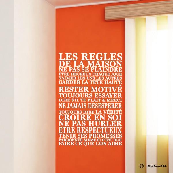 Sticker les r gles de la maison - Cadre regle de la maison ...