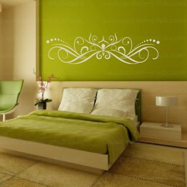 sticker t te de lit arabesque personnalis. Black Bedroom Furniture Sets. Home Design Ideas