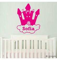 Sticker château princesse avec nuage