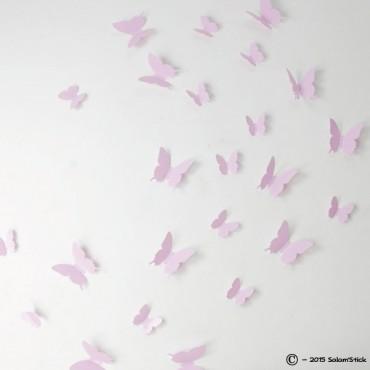 Lot de 12 papillons 3D ROSE