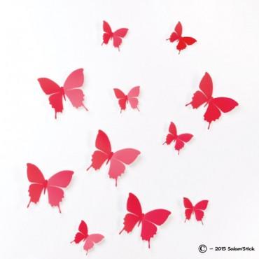 Lot de 12 papillons 3D ROUGE