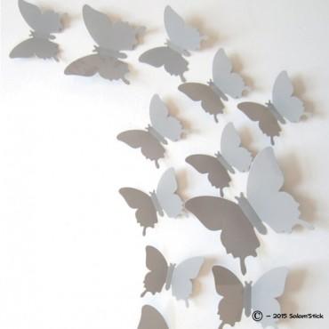 Lot de 12 papillons 3D GRIS