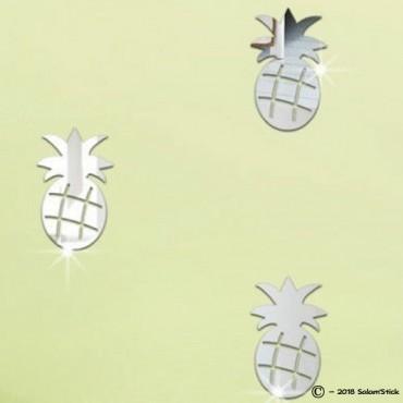 Lot de 3 stickers miroir ananas