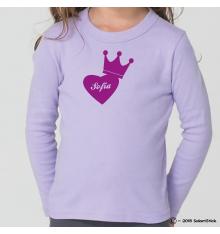 Tee-Shirt personnalisé prénom coeur couronne